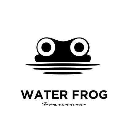 Water Frog logo vector design template, Silhouette animal, Illustration isolated background