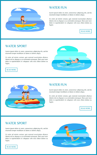 Water Fun and Sport Web Pages Vector Illustration