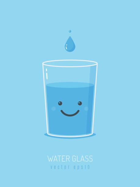 water glass mascot - kieliszek stock illustrations