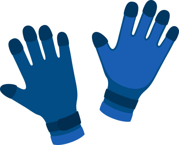 wasser handschuhe comic vektor-illustration - schutzhandschuhe stock-grafiken, -clipart, -cartoons und -symbole