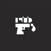 water gun icon. Filled water gun icon for website design and mobile, app development. water gun icon from filled summer collection isolated on black background.