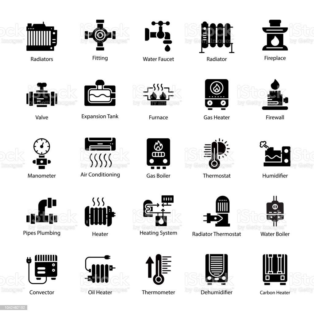 Water Heater Glyph Vector Icons vector art illustration
