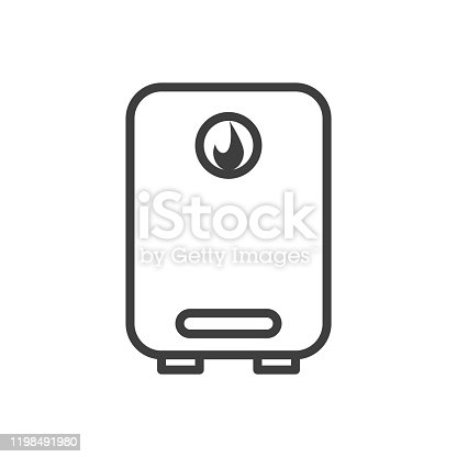 istock Water heater icon. Boiler in the linear version. Isolated vector on a white background. 1198491980