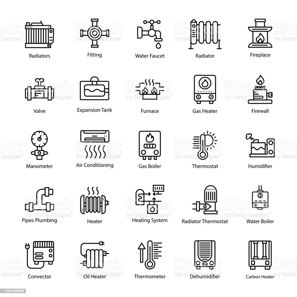 Water Heater Line Vector Icons vector art illustration