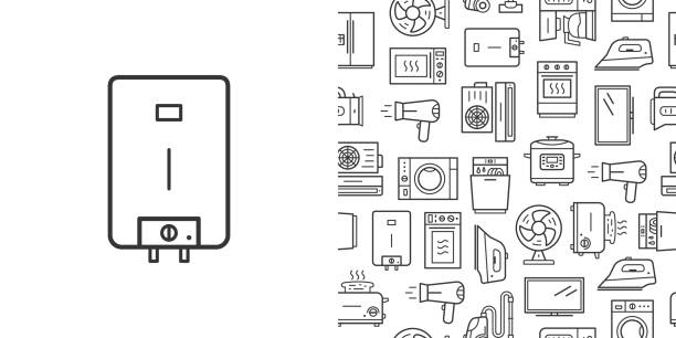 Water heater sign and vector seamless pattern with household appliances line style icons Water heater sign and vector seamless pattern with household appliances. Line style icons isolated on white background dishwashing machine stock illustrations