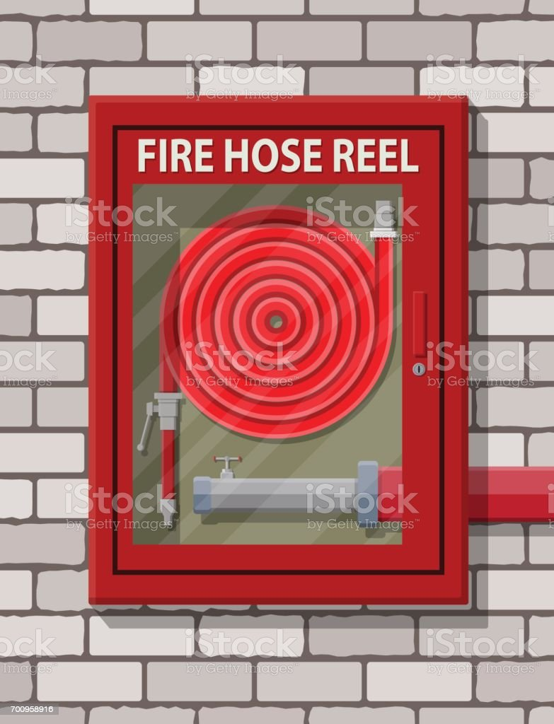 water hose to extinguish the fire in cabinet stock vector art