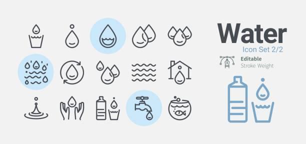 물 아이콘 컬렉션 - 물 stock illustrations