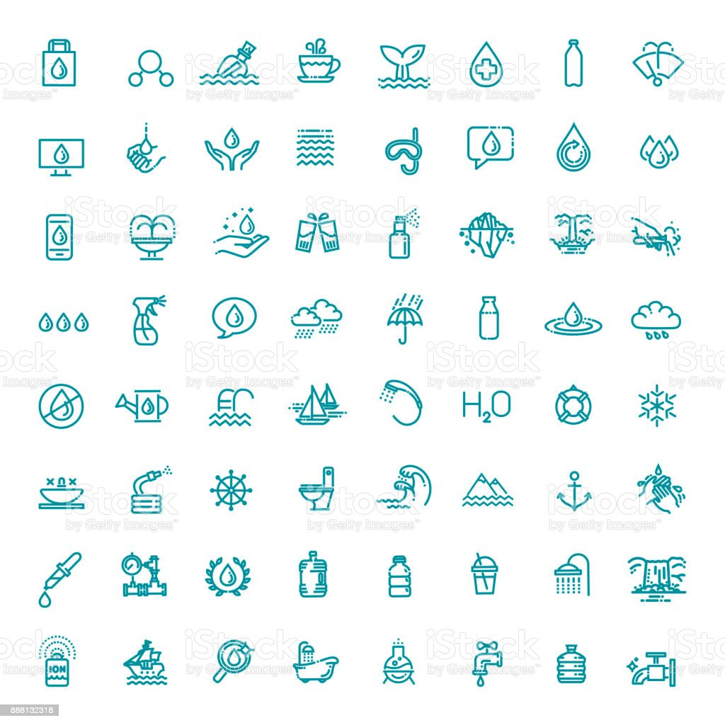 Water icon set in thin line style. Vector symbol. vector art illustration