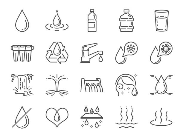 물 아이콘 세트입니다. 물방울, 습기, 액체, 병, 쓰레기 등으로 포함된 아이콘. - 물 stock illustrations