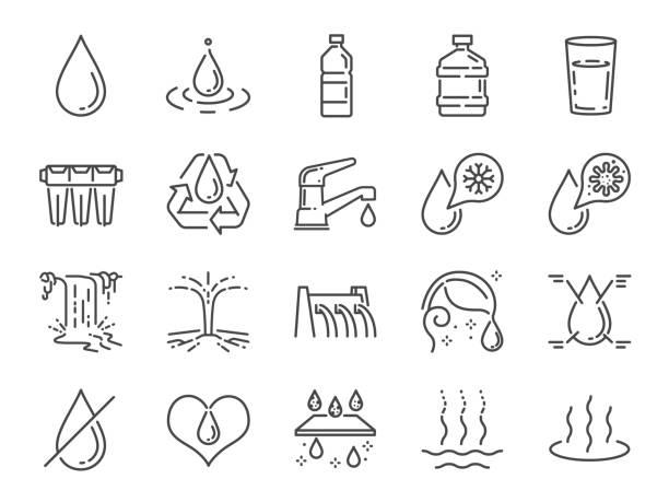 물 아이콘 세트입니다. 물방울, 습기, 액체, 병, 쓰레기 등으로 포함된 아이콘. - 댐 stock illustrations