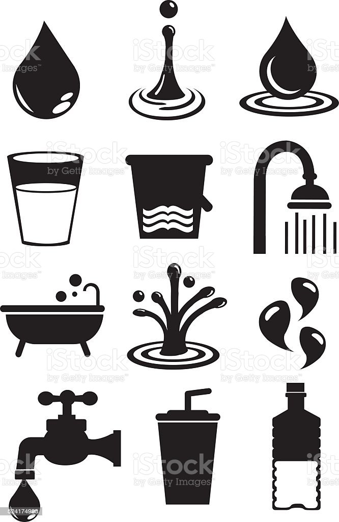 Water Icon Set Isolated on White Background vector art illustration
