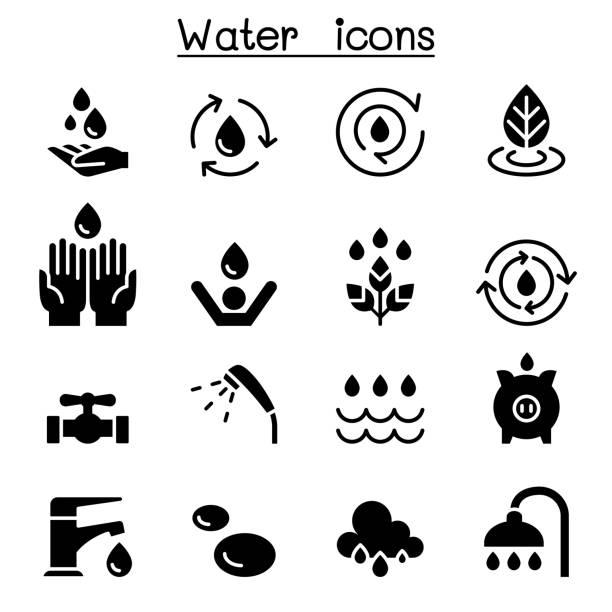 wasser-symbol set vektor illustration grafik-design - fallrohr stock-grafiken, -clipart, -cartoons und -symbole