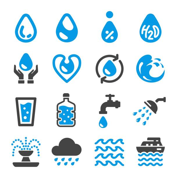 water icon - fontanna stock illustrations