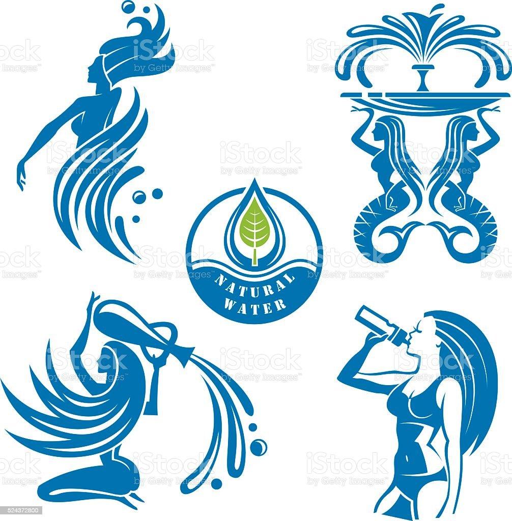 Conjunto de ícones de água - ilustração de arte em vetor