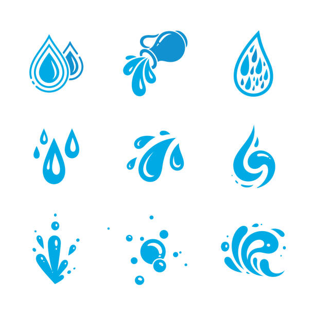 stockillustraties, clipart, cartoons en iconen met water icons set - spatten activiteit