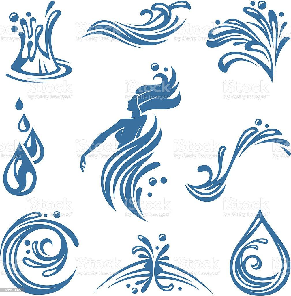 Ícones de água - ilustração de arte em vetor