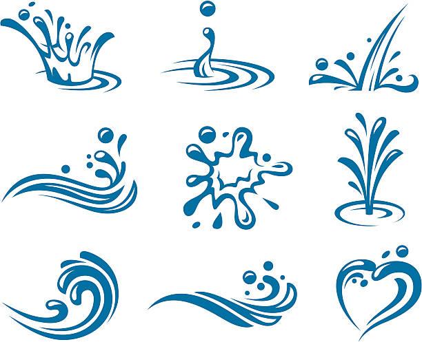 ikony wody - fontanna stock illustrations