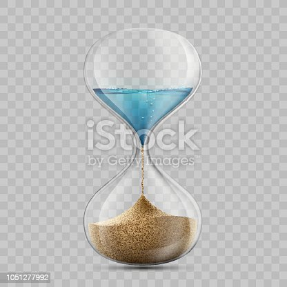 Water in hourglass becomes a sand. Sandglass isolated on transparent background. Stock vector illustration.