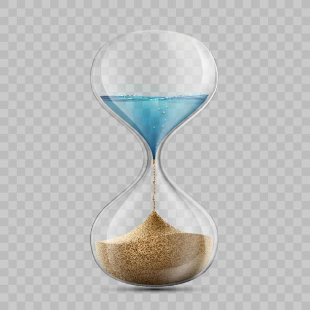 Water in hourglass becomes a sand. Sandglass isolated on transparent background. - ilustração de arte vetorial