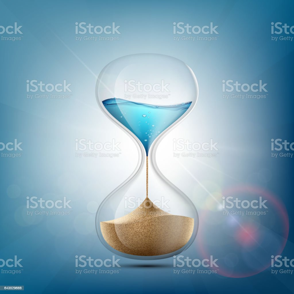 Water in hourglass becomes a sand. vector art illustration