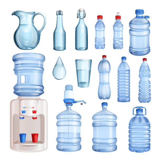 Water in plastic and glass bottles. Vector isolated objects set. Pure mineral water illustration Water in plastic and glass bottles. Vector isolated objects set. Pure mineral water illustration. bottle stock illustrations