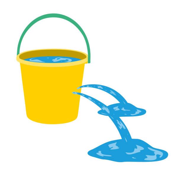 stockillustraties, clipart, cartoons en iconen met het water wordt gegoten uit een gat in een emmer - emmer
