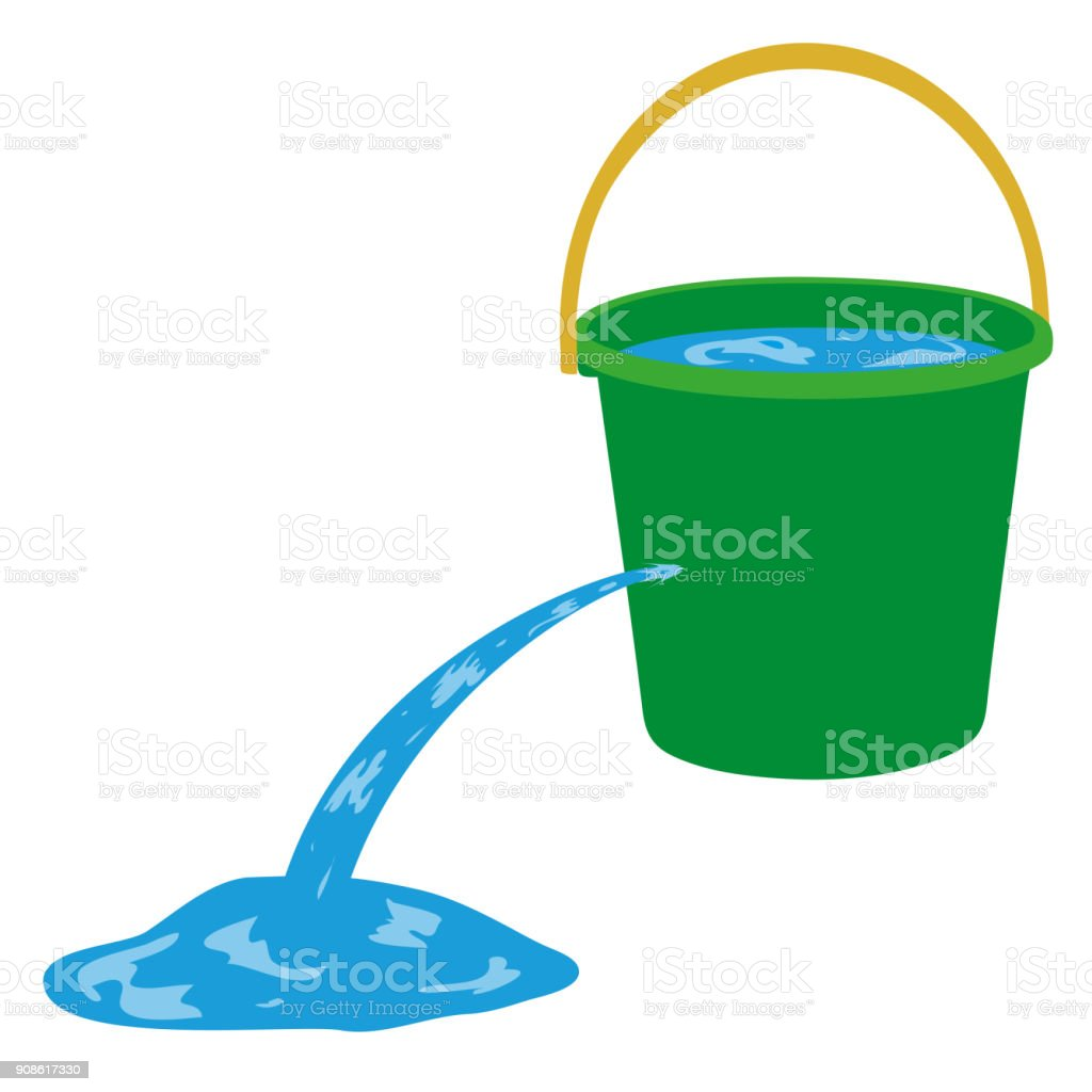 Water is poured out of a hole in a bucket vector art illustration