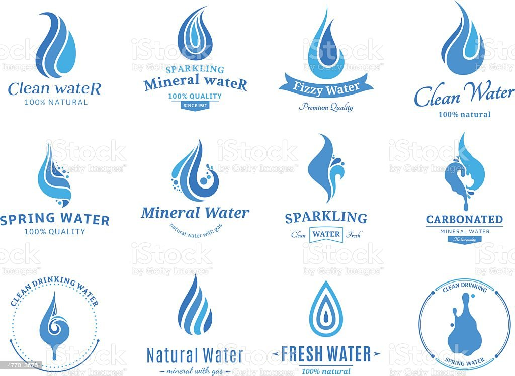 Water Label, Icons and Design Elements vector art illustration
