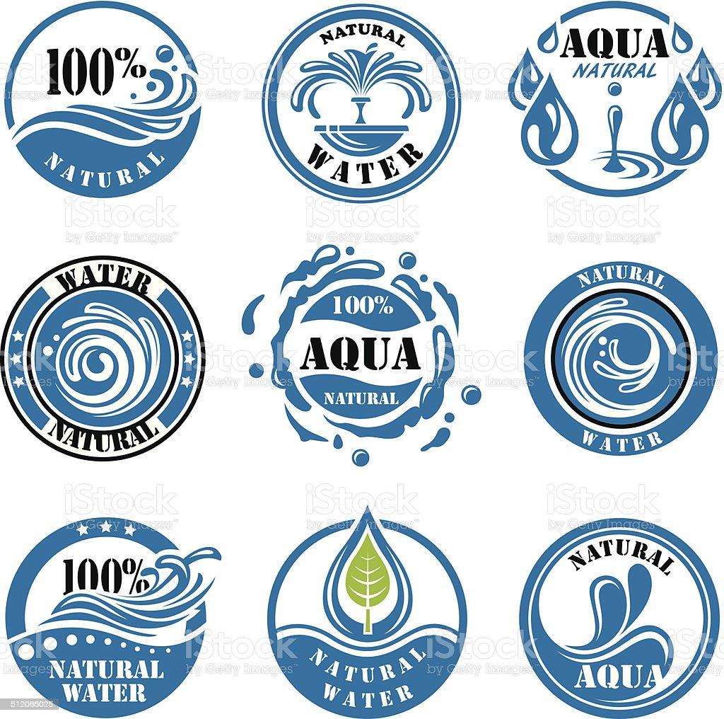 Rótulos de água - ilustração de arte em vetor