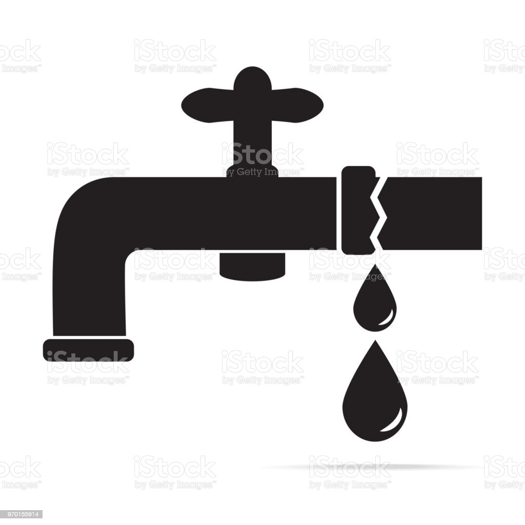 Water Leak From Faucet Icon Vector Illustration Stock Vector Art ...