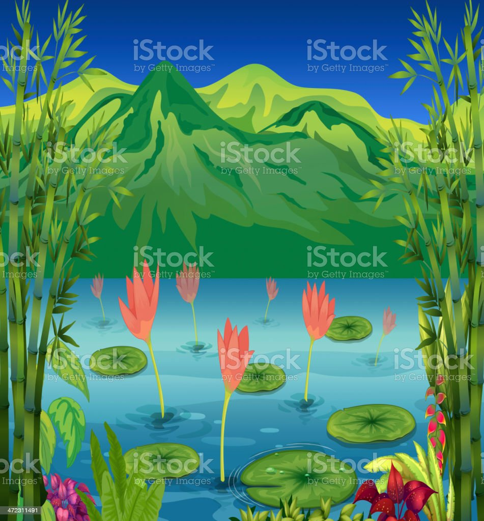 Water lilies and flowers at the lake royalty-free stock vector art