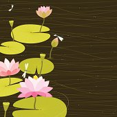 Vector Illustration of water lilies/lotus with dragonflies.