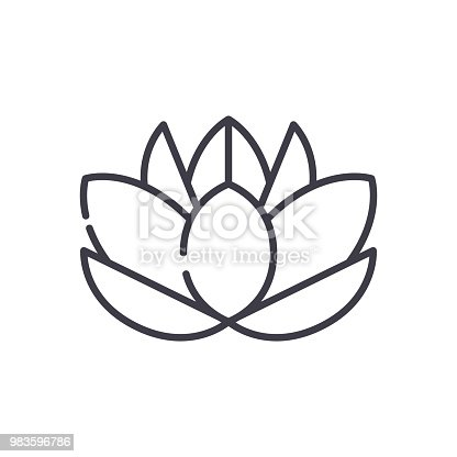 Water lily black icon concept. Water lily flat  vector website sign, symbol, illustration.