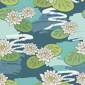 Water lily flower graphic color seamless pattern background sketch illustration vector