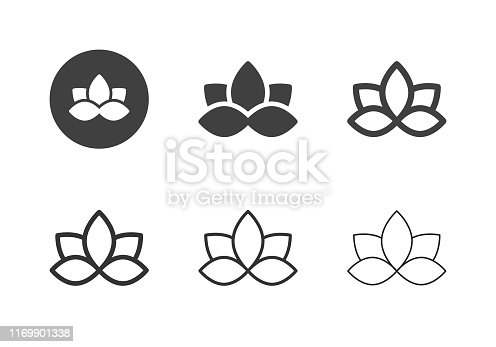 Water Lily Flower Icons Multi Series Vector EPS File.