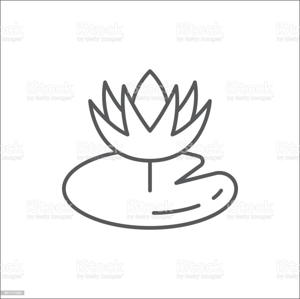 Water Lily Flower With Leaf Editable Outline Icon Pixel Perfect