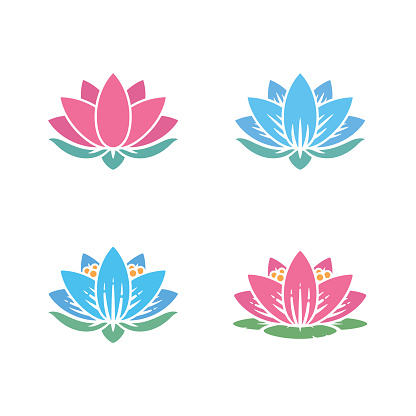 water lily icons set