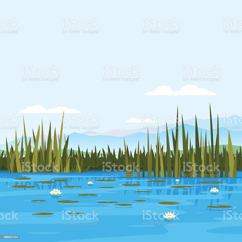 Water Lily Landscape vector art illustration