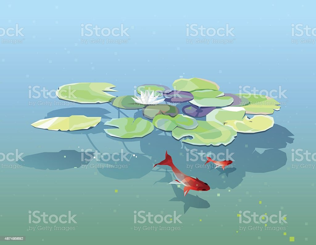 Water lily pads floating in the pond with goldfishes vector art illustration