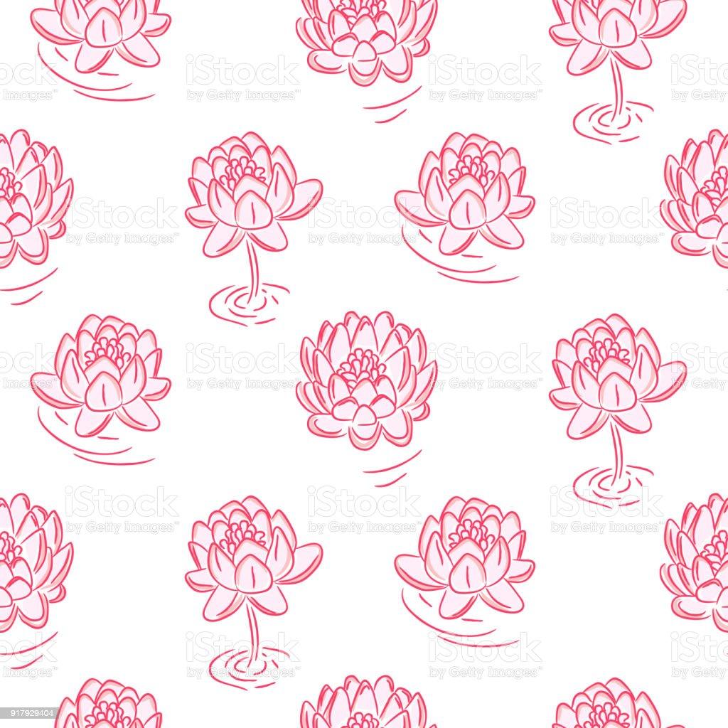 Dessin Sans Soudure Vector Fleurs De Nenuphar Rose Cliparts