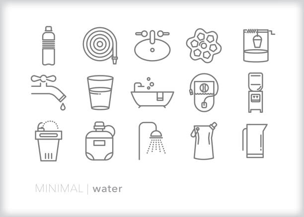 water line icon set for cleaning and drinking - fontanna stock illustrations