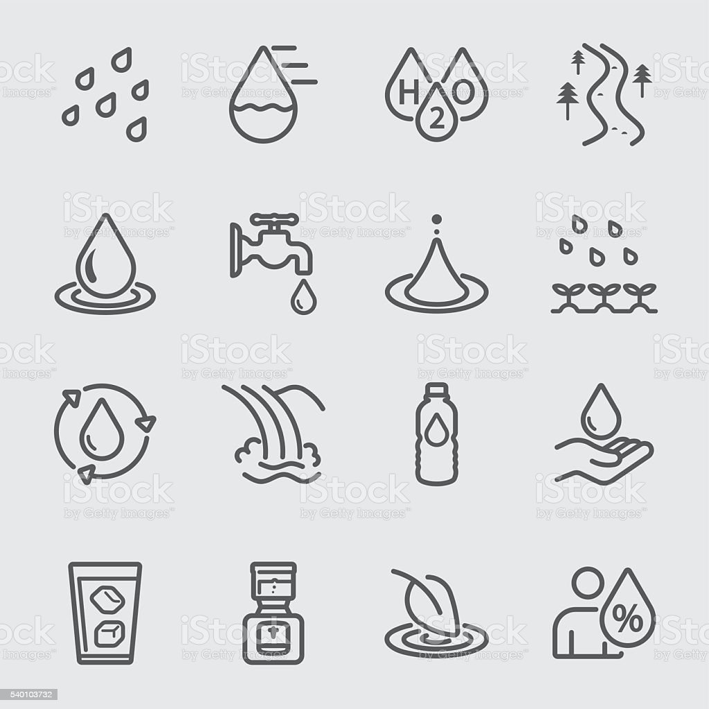 Water line icon vector art illustration