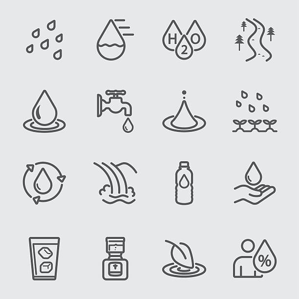 water line icon - tap water stock illustrations
