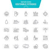 Drop, Wave Pattern, Recycling, Bottle, Editable Stroke Icon Set