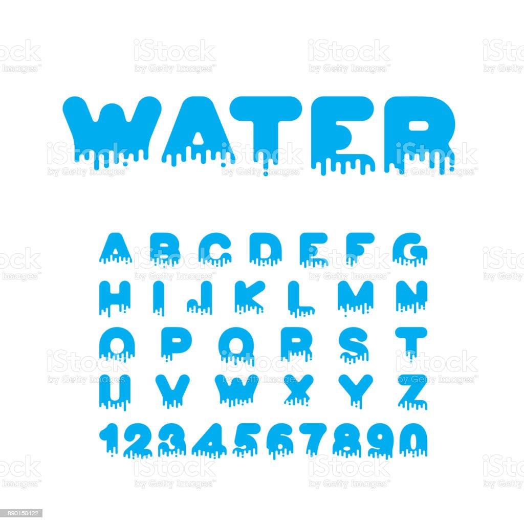 Water Liquid font. aqua alphabet. viscous Letters vector art illustration