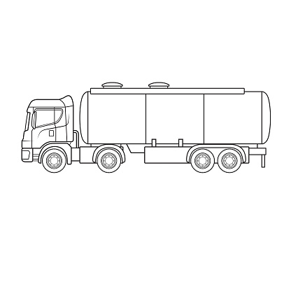 Water liquid tank truck tanker equipment machine vehicle. Only black and white for coloring page., children book.