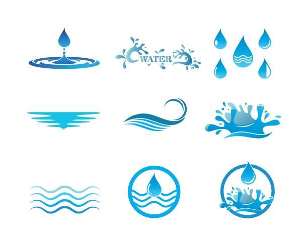 ilustrações, clipart, desenhos animados e ícones de ilustração do vetor do molde do logotipo da água - water