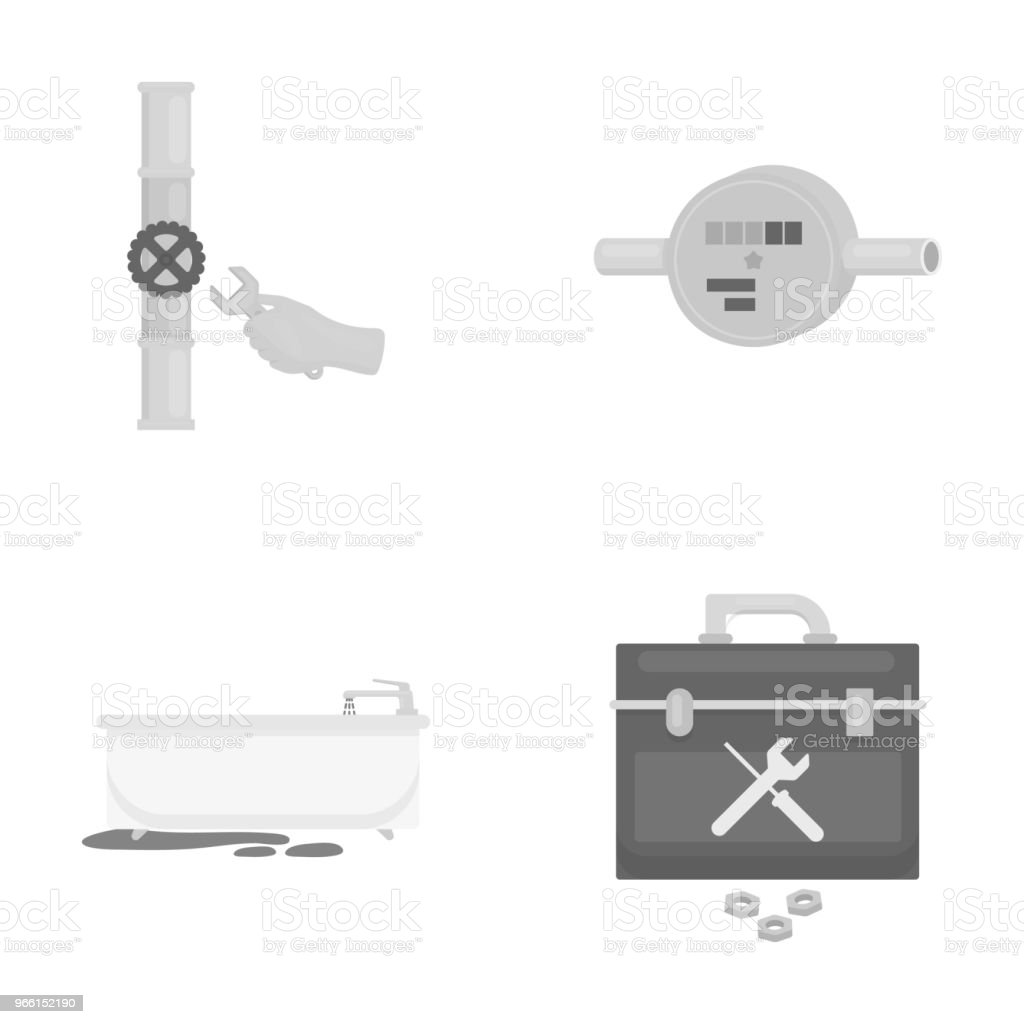 Water meter, bath and other equipment.Plumbing set collection icons in monochrome style vector symbol stock illustration web. - Royalty-free Equipment stock vector
