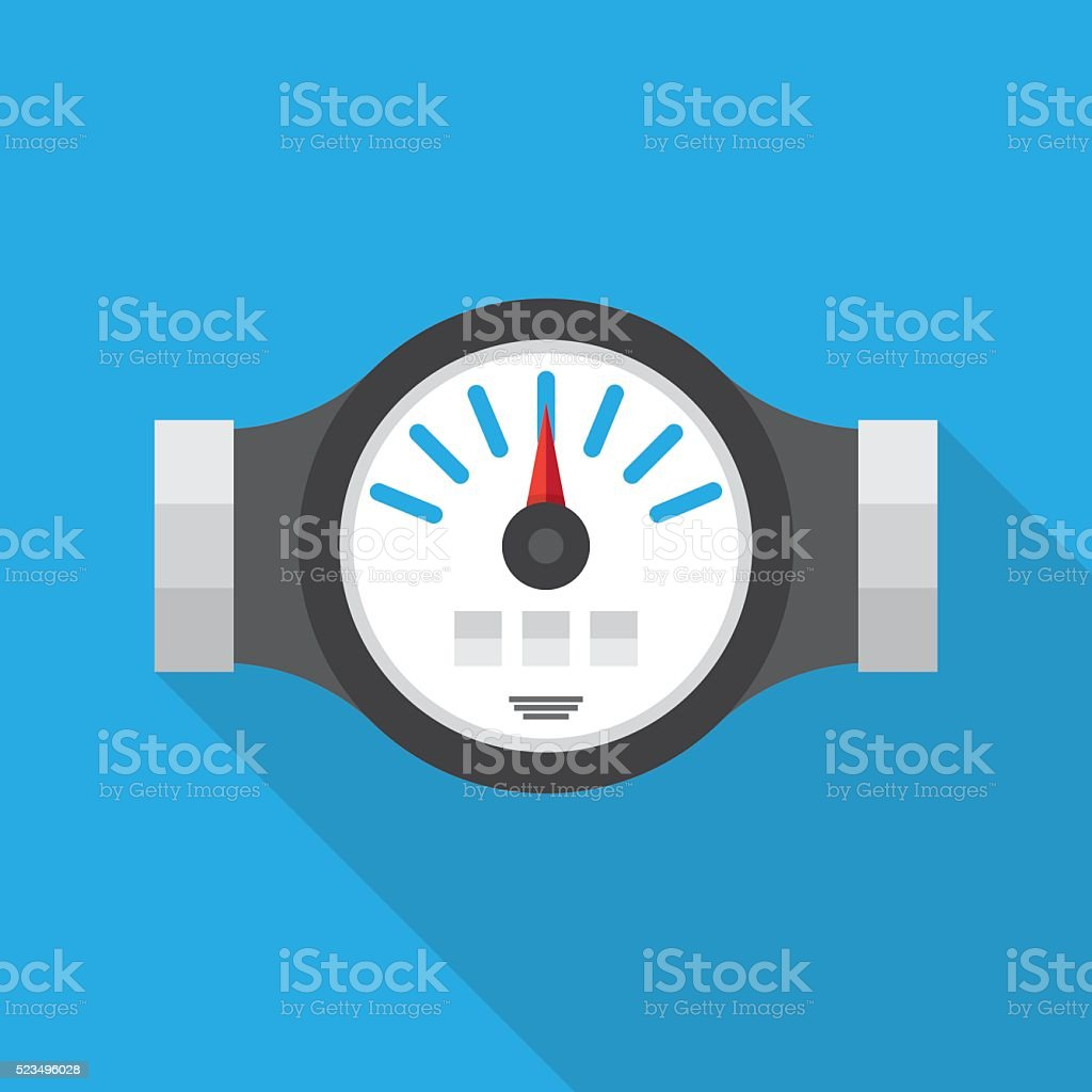 Water Meter Flat Icon vector art illustration