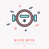 Water meter thin line icon. Modern vector illustration of measuring equipment for house.